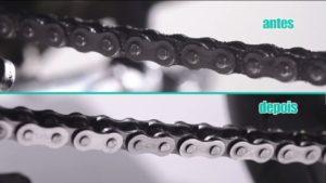 antes e depois corrente moto